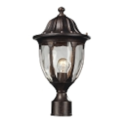 "Glendale Collection 1-Light 17"" Regal Bronze Outdoor Post Mount Lantern with Water Glass 45005/1"