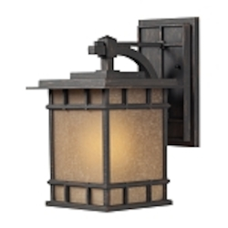 "Newlton Collection 1-Light 15"" Weathered Charcoal LED Outdoor Wall Lantern with Seeded Amber Linen Glass 45011/1-LED"