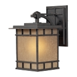 "Newlton Collection 1-Light 17"" Weathered Charcoal LED Outdoor Wall Lantern with Seeded Amber Linen Glass 45012/1-LED"