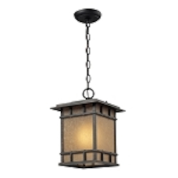 "Newlton Collection 1-Light 13"" Weathered Charcoal LED Outdoor Hanging Lantern with Seeded Amber Linen Glass 45013/1-LED"