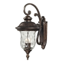 "Lafayette Collection 3-Light 27"" Regal Bronze Outdoor Wall Lantern with Blown Water Glass 45022/3"