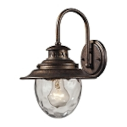 "Searsport Collection 1-Light 13"" Regal Bronze Outdoor Wall Sconce with Water Glass 45030/1"
