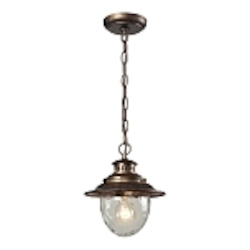 "Searsport Collection 1-Light 10"" Regal Bronze Outdoor Hanging Pendant with Water Glass 45031/1"