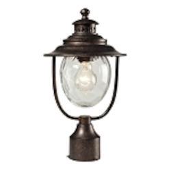 "Searsport Collection 1-Light 15"" Regal Bronze Outdoor Post Mount Lantern with Water Glass 45032/1"