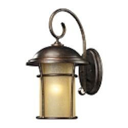 "Bolla Vista Collection 1-Light 20"" Regal Bronze LED Outdoor Wall Lantern with Amber Glass 45037/1-LED"