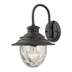 "Searsport Collection 1-Light 13"" Weathered Charcoal Outdoor Wall Sconce with Water Glass 45040/1"