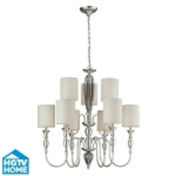 "Martique Collection 9-Light 34"" Silver Leaf Chandelier With Chrome Plated Glass And Textured White Linen Shades 46035/6+3"