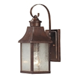 "Town Square Collection 1-Light 13"" Hazelnut Bronze Outdoor Wall Lantern with Seedy Glass 47000/1"