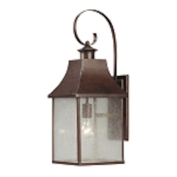 "Town Square Collection 1-Light 24"" Hazelnut Bronze Outdoor Wall Lantern with Seedy Glass 47002/1"