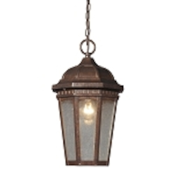 "Fullerton Collection 1-Light 15"" Hazelnut Bronze Outdoor Hanging Lantern with Seedy Glass 47032/1"