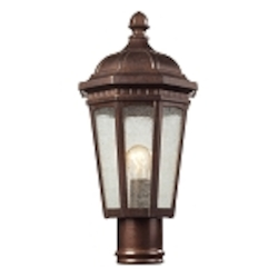 "Fullerton Collection 1-Light 18"" Hazelnut Bronze Outdoor Post Mount Lantern with Seedy Glass 47033/1"