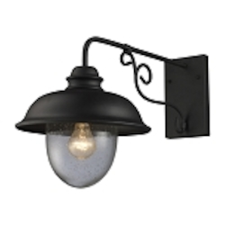 "Streetside Cafe Collection 1-Light 14"" Matte Black Outdoor Wall Lantern with Seeded Blown Glass 62001-1"