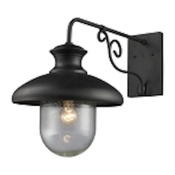 "Streetside Cafe Collection 1-Light 18"" Matte Black Outdoor Wall Lantern with Seeded Blown Glass 62002-1"