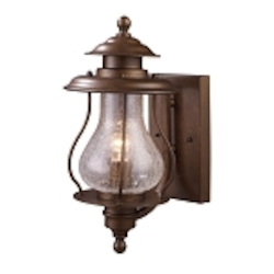 "Wikshire Collection 1-Light 15"" Coffee Bronze Outdoor Wall Lantern with Crackled Blown Glass 62005-1"
