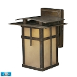 "San Fernando Collection 1-Light 10"" Hazelnut Bronze LED Outdoor Wall Lantern with Frosted Caramel Glass 64010-1"