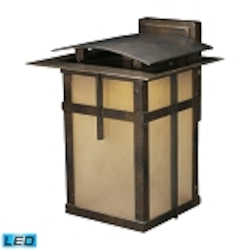"San Fernando Collection 1-Light 12"" Hazelnut Bronze LED Outdoor Wall Lantern with Frosted Caramel Glass 64011-1"