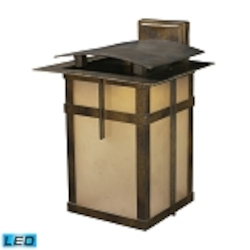 "San Fernando Collection 2-Light 15"" Hazelnut Bronze LED Outdoor Wall Lantern with Frosted Caramel Glass 64012-2"