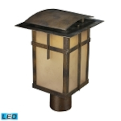 "San Fernando Collection 1-Light 14"" Hazelnut Bronze LED Outdoor Post Mount Lantern with Frosted Caramel Glass 64013-1"