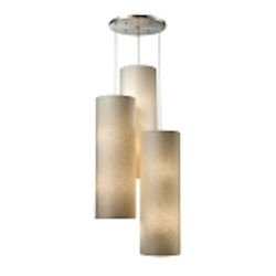 "Fabric Cylinders Collection 12-Light 28"" Satin Nickel Round Pendant with Textured Beige Shades 20160/12R"
