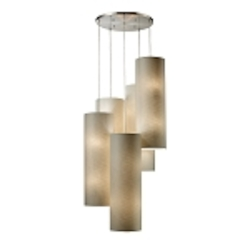 "Fabric Cylinders Collection 20-Light 33"" Satin Nickel Round Pendant with Textured Beige Shades 20160/20R"