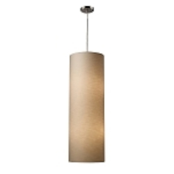 "Fabric Cylinders Collection 4-Light 36"" Satin Nickel Drum Pendant with Textured Beige Shade 20160/4"