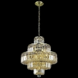 "Maxim Collection 13-Light 21"" Gold Crystal Chandelier 2038D20G"
