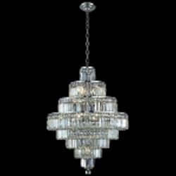 "Maxim Collection 18-Light 35"" Chrome Crystal Chandelier 2038D26C"