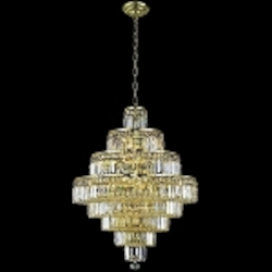 "Maxim Collection 18-Light 35"" Gold Crystal Chandelier 2038D26G"