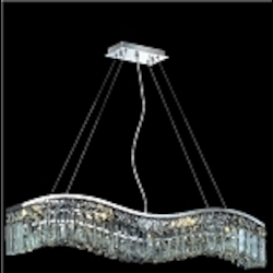 "Contour Collection 6-Light 30"" Chrome Wave Crystal Pendant Chandelier 2040D30C"