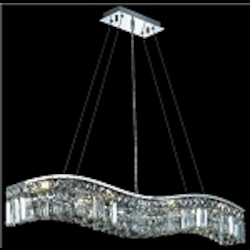 "Contour Collection 8-Light 36"" Chrome Wave Crystal Pendant Chandelier 2040D36C"