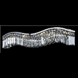 "Contour Collection 6-Light 30"" Chrome Wave Crystal Bath Vanity Fixture 2040W30C"
