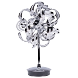 "Tiffany Collection 6-Light 20"" Chrome Crystal Table Lamp 2068TL12C/RC"