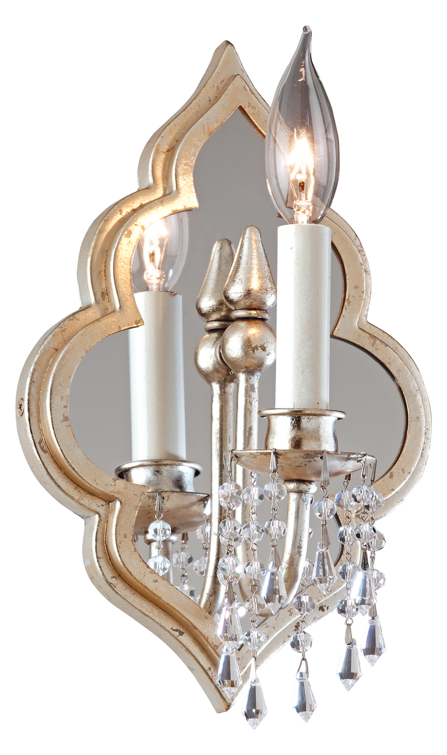 Corbett Silver Leaf Finish With Antique Mist Bijoux 1 Light Mirrored Wall Sconce Silver Leaf ...