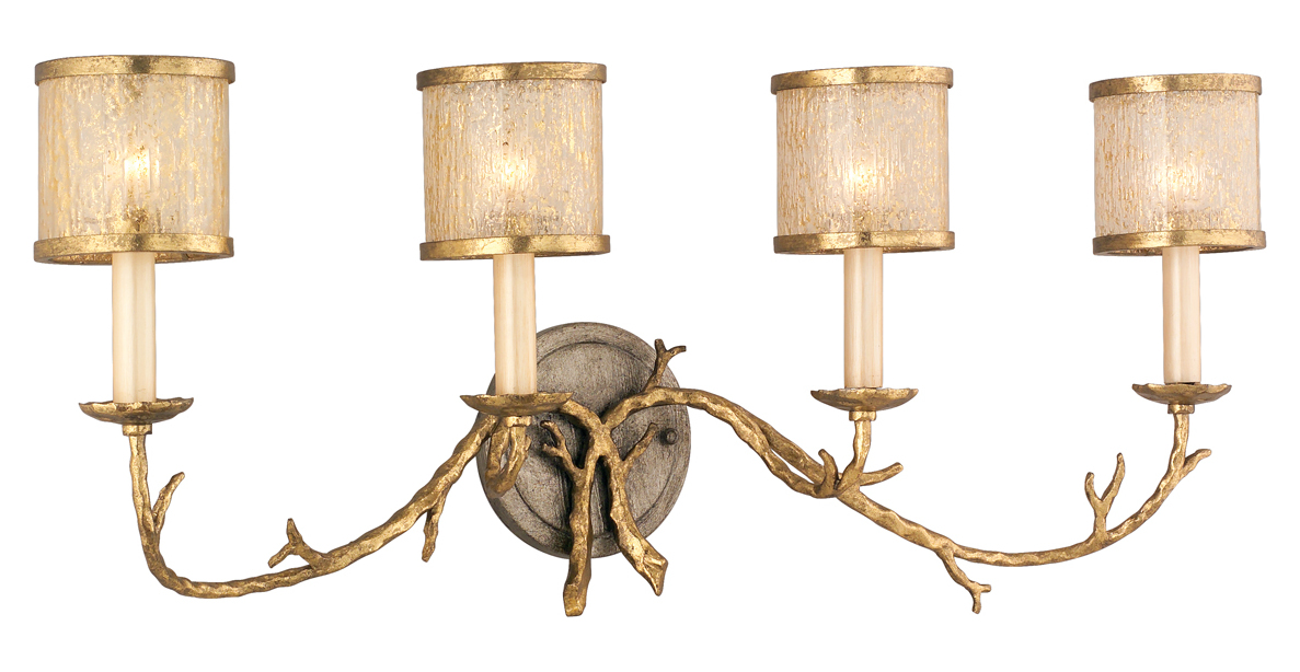 Gold Finish Wall Sconces : Corbett Gold / Silver Leaf Finish 4 Light Wall Sconce from the Parc Royale Collection Gold And ...
