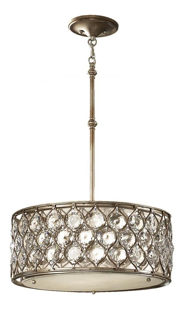 Feiss Three Light Burnished Silver Beige Fabric Shade Drum