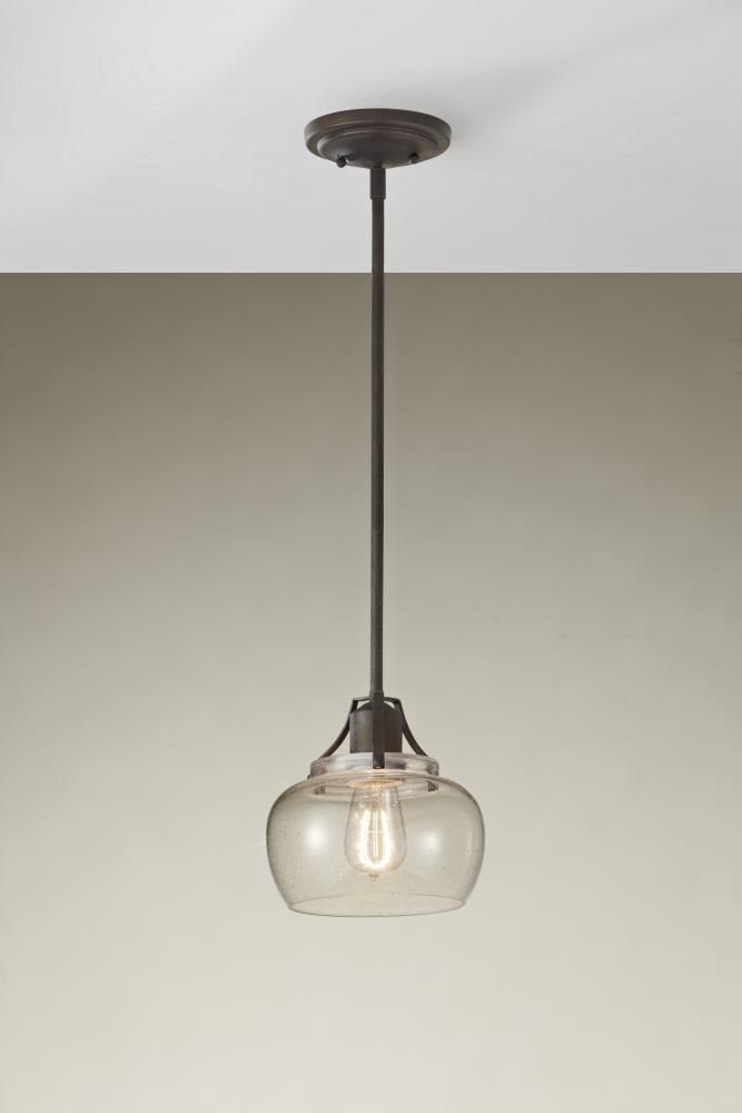 Lighting One: Feiss One Light Rustic Iron Clear Seeded Glass Down Mini