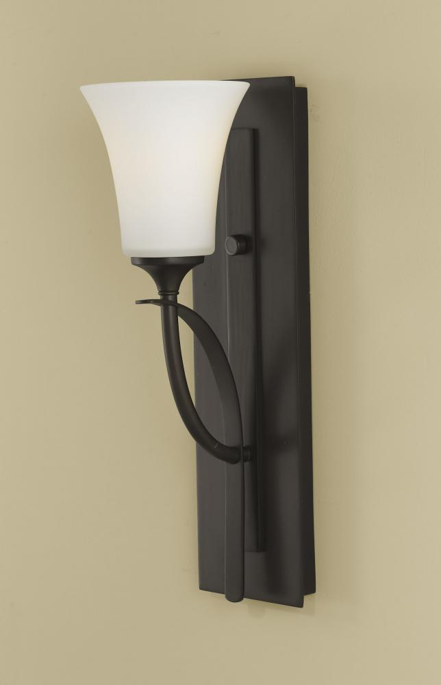 Feiss One Light Oil Rubbed Bronze Opal Etched Glass Bathroom Sconce Oil Rubbed Bronze Vs12701