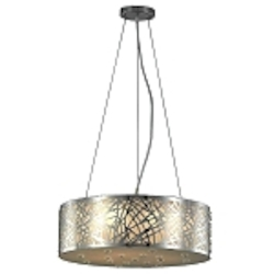 "6 light 20"" Chrome and Crystal Chandelier Pendant with Metal Laser Cut Drum Shade SKU# 146687"