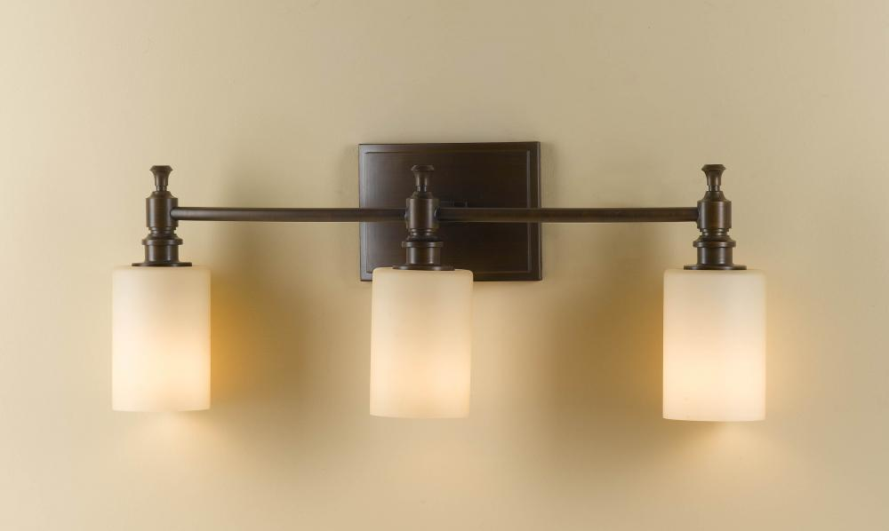 Feiss Canterbury 3 Light Vanity Fixture Oil Rubbed Bronze: Feiss Three Light Heritage Bronze Creme Etched Glass