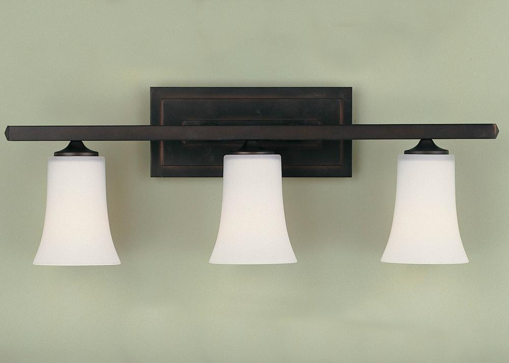 Oil Rubbed Bronze 3 Light Bathroom Vanity Wall Lighting: Feiss Three Light Oil Rubbed Bronze Opal White Etched