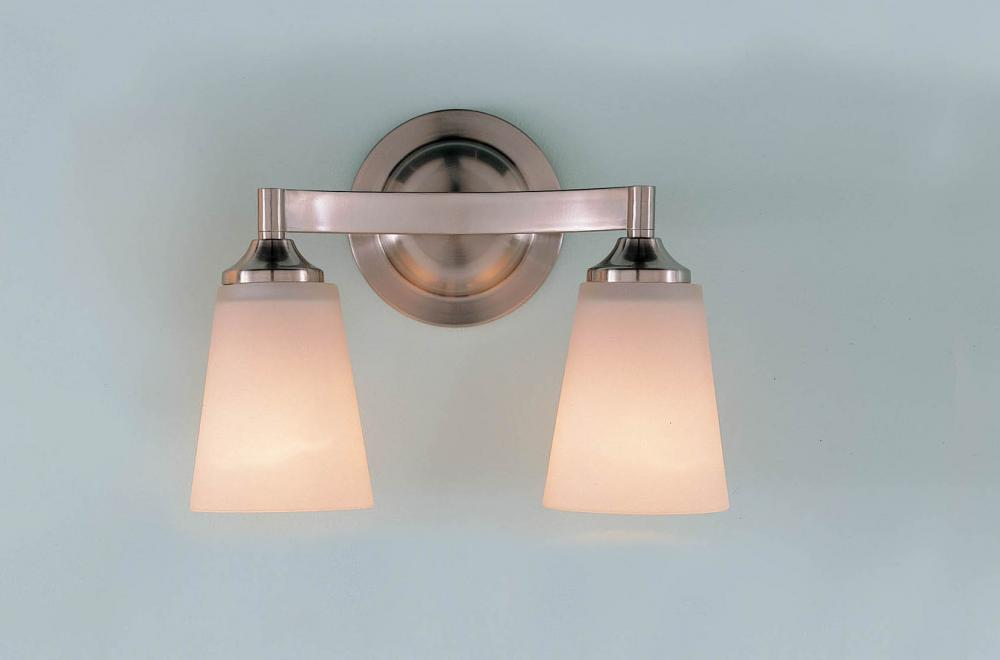 Feiss Bristol 2 Light Vanity Fixture In Oil Rubbed Bronze: Feiss Two Light Brushed Steel White Opal Etch Glass Vanity