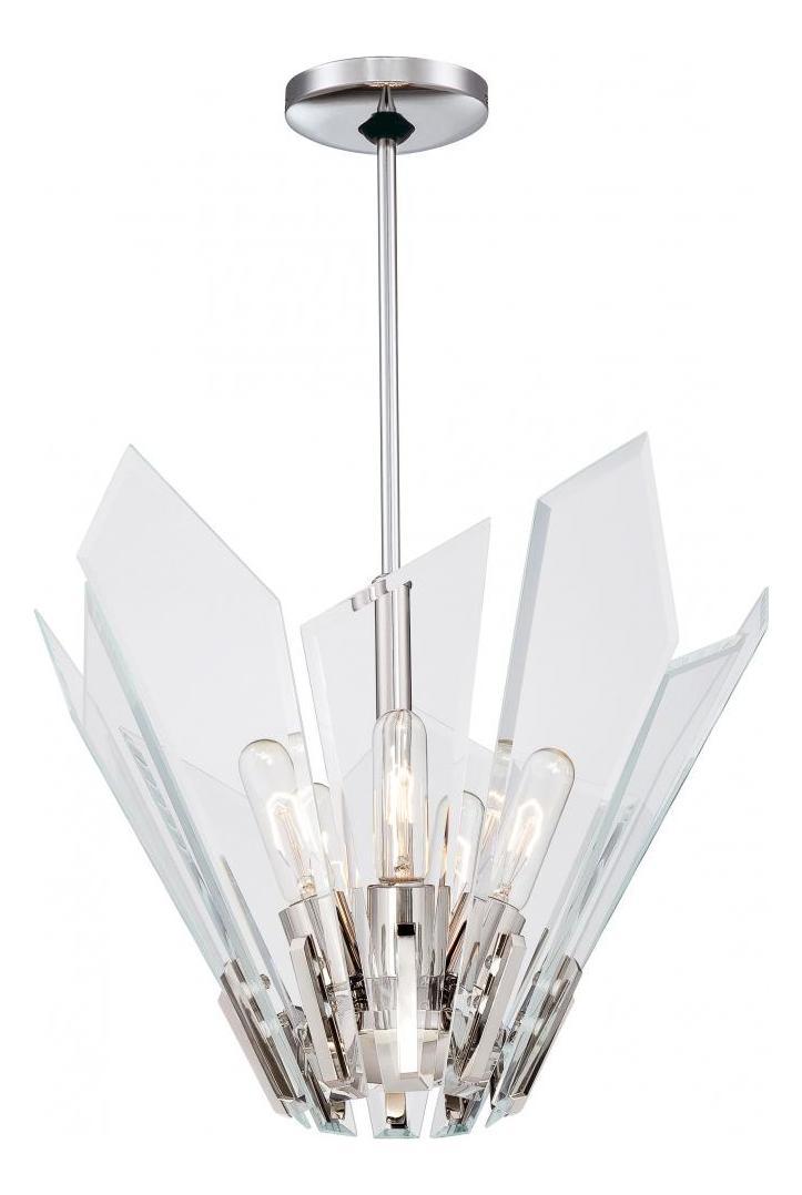 Minka George Kovacs Polished Nickel 5 Light Full Sized Pendant From The Glass