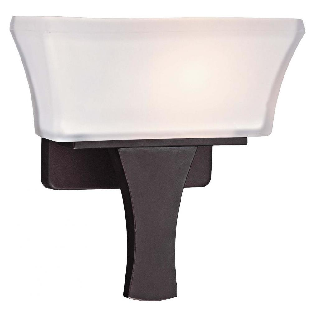 Minka George Kovacs Bronze 1 Light 9.25in. Height ADA Compliant Wall Sconce with Etched White ...