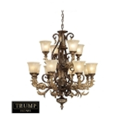ELK Lighting Twelve Light Burnt Bronze Up Chandelier - 2165/8+4-LED