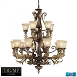 ELK Lighting Fifteen Light Burnt Bronze Up Chandelier - 2166/10+5-LED