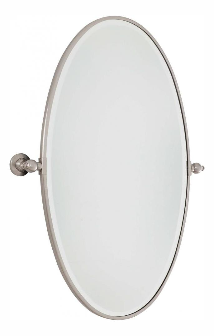 Minka lavery brushed nickel extra large oval pivoting for Mirror 84 x 36