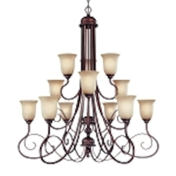 "Preston Place Collection 12-Light 46"" Augustine Chandelier with Painted Etched Glass Shade 21712-AGT"