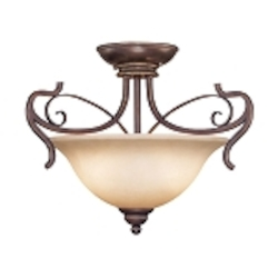 "Preston Place Collection 2-Light 18"" Augustine Semi Flush with Painted Etched Glass Shade 21722-AGT"