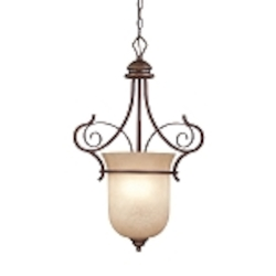 "Preston Place Collection 3-Light 28"" Augustine Foyer with Painted Etched Glass Shade 21723-AGT"
