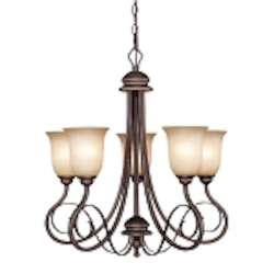 "Preston Place Collection 5-Light 26"" Augustine Chandelier with Painted Etched Glass Shade 21725-AGT"